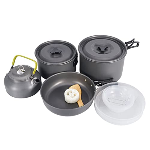 ABOOFAN Camping Cookware Kit, Aluminum Camping Cooker Pan Set with Kettle Pot Pan for 5 to 6 People Camping, Hiking, Picnic
