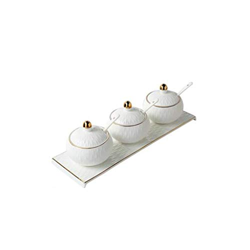 XZJJZ Porcelain Condiment Jar Spice Container with Lids, Ceramic Serving Spoon,Ceramic tray - Best Pottery Cruet Pot for Your Home, Kitchen, Set of 3