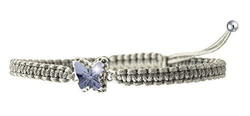 PAPOLY,Pendientes Mariposa Swarovski Crystal 'Magic Of Love' PLATA DE LEY 925, Refleja diferentes tonos el mover, juego de pulsera Macramé (GRAY-PULSERA)