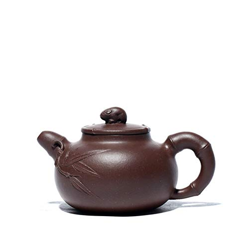 LPLHJD Teapot Ore Teiera Famosa Statua della Mano di bambù Bastone di bambù teiera tè (Color : Purple Mud)