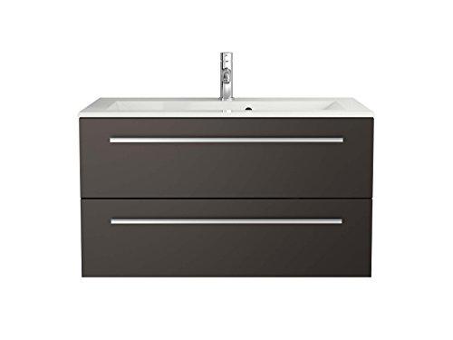 Sieper Waschtischunterschrank Libato - Unterschrank Verschiedene Breit - weiß oder anthrazit Hochglanz - Badmöbel Badezimmermöbel Waschtisch Unterschrank Badmöbel (90, anthrazit)