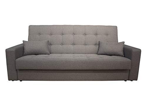 Meubletmoi Slaapbank, 3-zits, comfortabel, grijs, met kist - klassiek design - Study