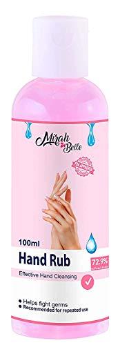 Mirah Belle - Hand Rub Sanitizer (100 ML) - BUY 6 GET 5 MASKS - FDA Approved (72.9% Iso Propyl Alcohol) - Vegan, Natural, Herbal- Best for Men, Women and Children - Hand sanitizer Cleanser (Pack of 1)