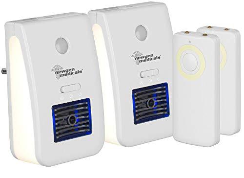newgen medicals LED-Nachtlicht Kinder: 2er-Set 2in1-Ionisator-Luftreiniger & Nachtlicht, Fernbedienung, Timer (Nachtlicht Steckdose Kinder)