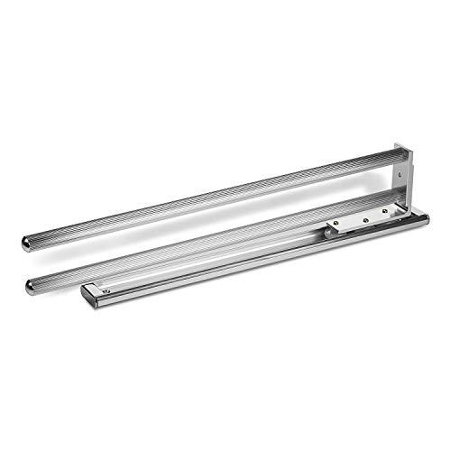 2 Stück SO-TECH® Handtuchhalter ausziehbar 2-armig drehbar 444 mm Chrom poliert Handtuchstange Handtuchauszug