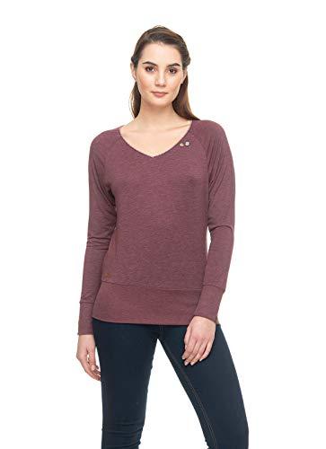 Ragwear Bernice Damen,Longsleeve,Sweatshirt,Shirt,vegan,V-Ausschnitt,breiter Bund,Wine Red,L