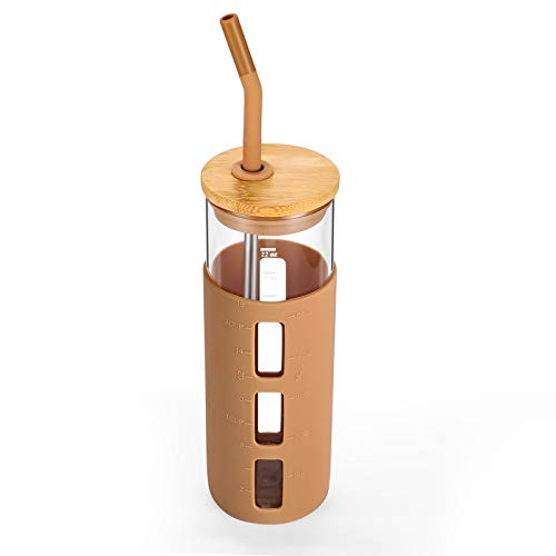 tronco 24oz Glass Tumbler Glass Water Bottle Straw Silicone Sleeve Bamboo Lid- BPA Free (Amber)