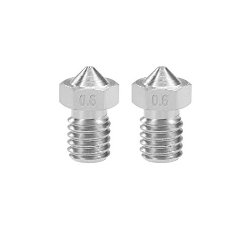 DyniLao 0.6mm 3D Printer Nozzle Head M6 Thread Replacement for V5 V6 1.75mm Extruder Printing, Stainless Steel 2pcs