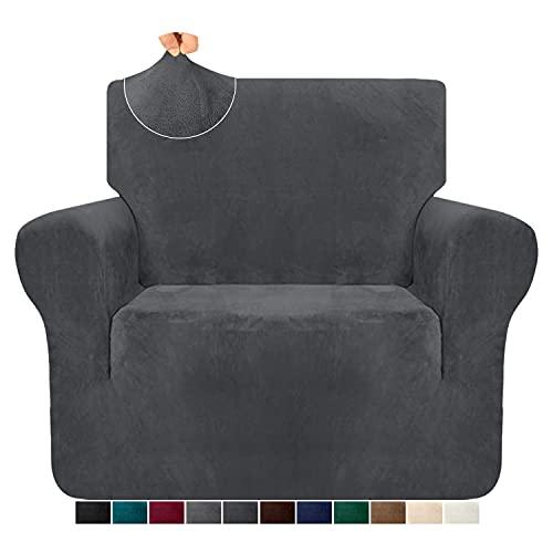 Granbest 1-teilige luxuriöse superweiche Plüsch-Couchbezug für Sessel Samtstuhlbezug hohe Stretch Sofabezug Möbelschutz für Wohnzimmer Anti-Rutsch-Sesselbezug (1 Sitzer,Grau)