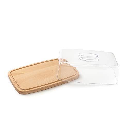 QUALITÀ in legno di faggio: Tagliere di alta qualità con canale di scolo. Contenuto della confezione: 1 x tagliere con copertura (Dimensioni: 36x23x12 cm; Altezza tra tavola e coperchio: 8 cm). FUNZIONE: Il tagliere può essere utilizzato come taglier...