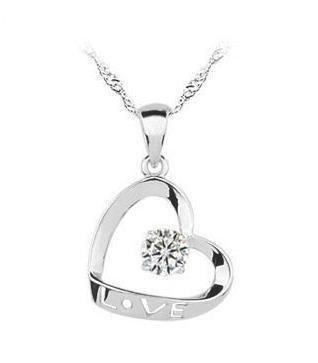 Miya Jewelry 'Miya Lusso in argento Sterling 925doppio cuore ciondolo a forma di cuore con cristallo eLove inciso, collana 45cm Argento