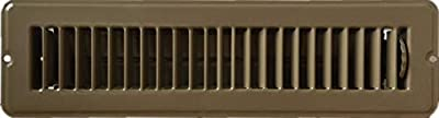 """RV and Home Brown Stamped Steel Floor Diffuser/Register with Damper 12"""" X 2"""" (Duct Opening Size) Outside Dimension 13.5""""x 3.75"""""""