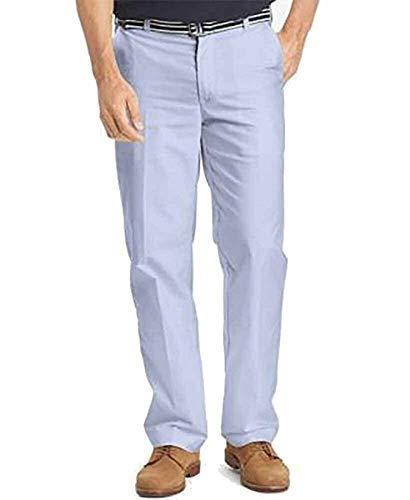IZOD Men's Newport Belted Flat Front Solid Oxford Pant, Mazarine Blue, 42W x 30L