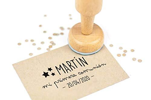 Sello Personalizados Comunion, Sello de Madera con tampón de tinta opcional, Sellos de Comunion | Estrellas