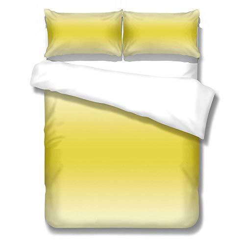 FAIEK Bettbezug Kissenbezüge Bettwäsche 220x240cm 3-Stück Für Kinder Jungs Kinderbett Sommer 100% Microfaser Bequem Atmungsaktiv Bettbezug Mit Reißverschluss,Gelbweißer Rauch