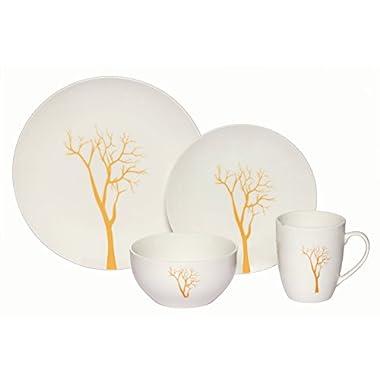 Melange Coupe 16-Piece Porcelain Dinnerware Set (Gold Tree) | Service for 4 | Microwave, Dishwasher & Oven Safe | Dinner Plate, Salad Plate, Soup Bowl & Mug (4 Each)