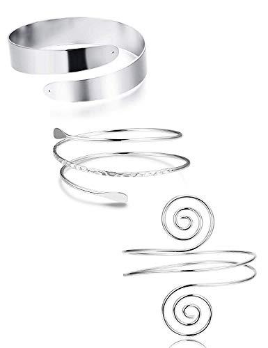 Finrezio 3 Stück Minimalistische Spule Oberes Armband Verstellbar Armreif Arm Manschette Armband Mit Filigran Geschmückter Strudel Silber