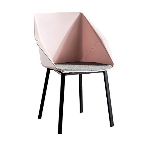 SLY PP Eetkamerstoel, Smeedijzer Benen Milk Tea Shop Coffee Onderhandelen Bureaubalkon Receptie Manicure Store Rugleuning Chair (Color : Pink)