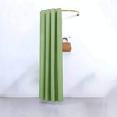 PTY Probador Marco de círculo de Tienda de Ropa en Forma de U, Cortina de vestidor de Varilla, Cortinas de ferrocarril móvil Simples, Cortinas cambiantes (Color : Green, Size : 100cm x 100cm)