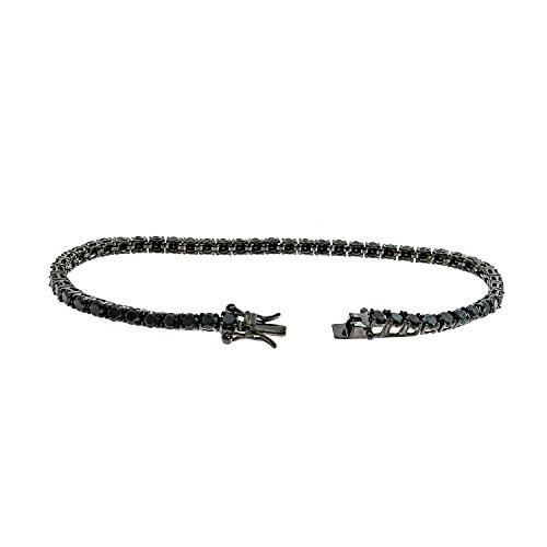 Bracciale Tennis All Black in Argento 925% Rutenio Zirconi Neri Taglio Diamante Uomo Donna 18 cm