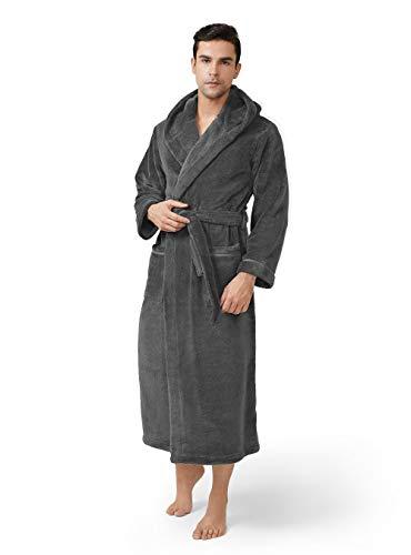 DAVID ARCHY Men's Hooded Robe Plush Coral Fleece Warm Cozy Long Bathrobe (S, Dark Gray)