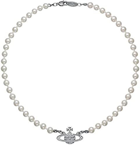 YUKAKI Collares de perlas de Saturno, collar de Saturno de diamantes de imitación de cristal, collar con colgante de mujer, aniversario, cumpleaños, día de la madre, joyería, regalos (Plata)
