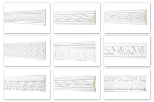 HEXIM Perfect Profilo piatto da 2 metri – grande scelta (AC205 – 130 x 23 mm) profilo in stucco in PU con motivo bianco, listello piatto da parete