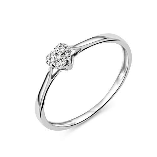 Miore Bague Femmes Bague de Fiançailles Coeur avec Diamants en Or Blanc 9 Karat / 375 Or Diamants Brillants 0.04 Carat, Bijoux