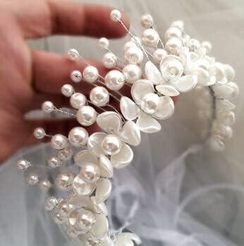 tongchuang Small Fresh Pearl Petal Flower Head Crown Headdress Handmade Imitation Pearl Garland Headband Wedding Hair Accessories