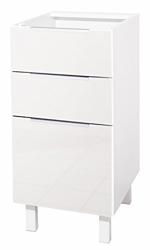 Berlioz Creations CT4BB 3 Schublades Küchenschrank Hochglanz Weiß 40 x 52 x 83 cm