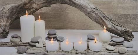 E+N LED-Wand-Bild Kerzen Vintage Driftwood Kerzen-Licht Geschenk-Idee Leucht-Bild, mit 7 LED's beleuchtet 98 x 38 x1,5cm, batteriebetrieben Holz/Leinwand