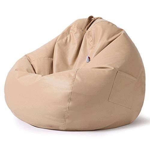 JHLD Sitzsack Bezug, Ohne Füllung Sitzsack Stühle Sofabezug Wasserdicht PU Leder Sitzsackbezug Mit Griff Und Seitentaschen Für Schlafzimmer Wohnzimmer-Reisfarbe-90×110CM