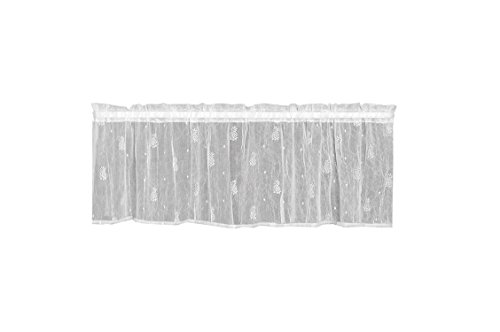 Heritage Lace Pineapple Valance, 45 by 15-Inch, White