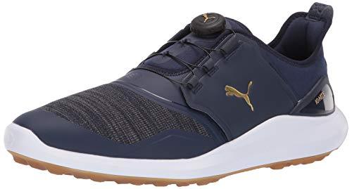 Puma Golf Men's Ignite Nxt Disc Golf Shoe, Peacoat-Puma Team Gold-Puma White, 8 M US