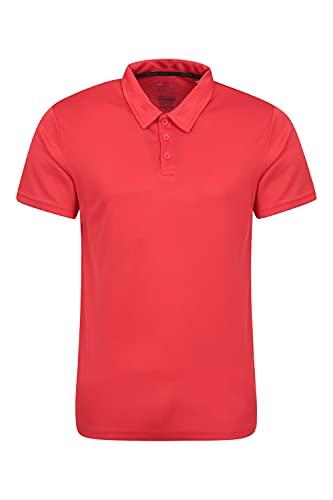 Mountain Warehouse Endurance Isocool Polo para Hombre - Top de protección UV, Camiseta Que Absorbe el Sudor, Parte de Arriba Transpirable - para el Verano, Correr Rojo L