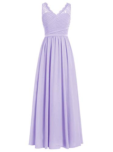 Brautjungfernkleider Spitze Lang A-Linie Chiffon Ballkleider V-Ausschnitt Ärmellos Abendkleider Hochzeit Kleider Lila 44