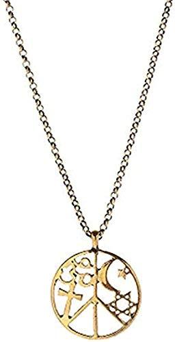 MNMXW Collar Joyas Color Plata Antiguo Hueco Estrella de David Yoga Om Signo de la Paz Collares Pendientes Luna Estrella Cruz Collares para Mujeres