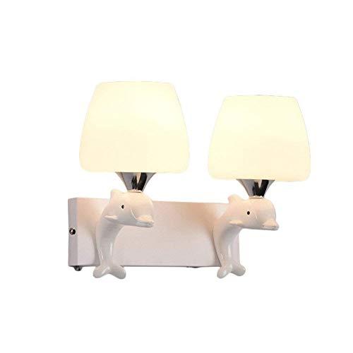 Lámpara de Pared con Iluminación Decorativa Lámpara de pared: lámpara de delfín de resina creativa nocturna for niños, luz nocturna 2 fuentes de luz, dormitorio, baño, cocina, pasillo, escaleras