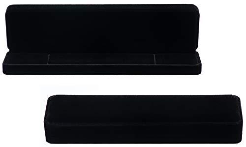 Rectangle Velvet Necklace Bracelet Jewelry Gift Box Display Case (Black)