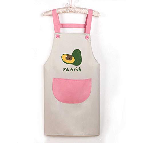 wangtao Creatieve Huiskeuken Waterdicht Schort Anti-olie Vervuiling Mode Vrouwelijk Schattig Mannelijk Overall Band avocado grijze poeder zak