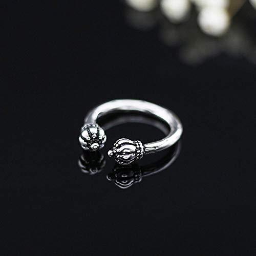 Lozse Ring 925 zilver dubbele kop lantaarn ring opening-Het kan worden verstelbaar