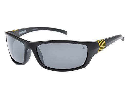 Caterpillar Chain Polarized Wrap Sunglasses, Matte Black, 63 mm