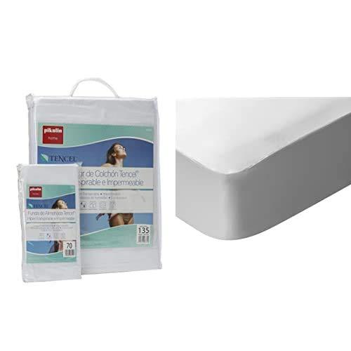 Pikolin Home Set híper-Transpirable e Impermeable con Protector de colchón (150x190/200cm) y Dos Fundas de Almohada (40x75cm) (Todas Las Medidas) + Pack de 2 Protectores de colchón Lyocell