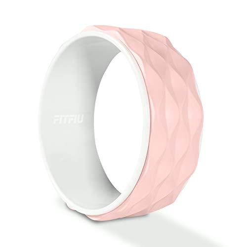 FITFIU Fitness WHEEL-PAT - Rueda Yoga Wheel de color Rosa, rueda de ejercicios Dharma Pilates para estiramiento, mejorar Flexibilidad y Resistencia 34cm de diámetro