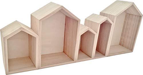 Graine Créative Holzregale kleine Häuser 50 x 8 x 20 cm