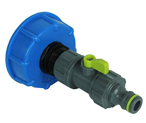 GASMIS IBC Adapter mit Absperrhahn S60x6 3/4 x Quick Connector (Hahnanschlussstück) - Flügelgriff, Mini-Auslaufhahn für Regentonne IBC-Regenwassertank, 1 Stück, Blau