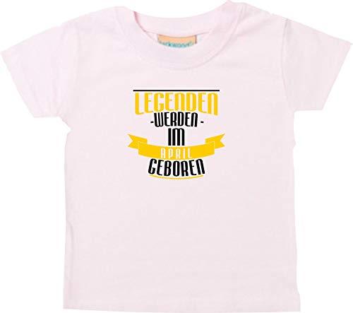Shirtstown T-Shirt Enfants Légendes Être dans le Avril Né - Rose, 18-24 Monate