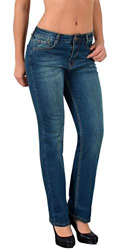ESRA Jean Femme Droit Pantalon en Jean Femme Straight Fit Jeans Taille Haute Grandes Tailles J27