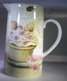 Butterfly Cupcakes Large China Jug Pitcher