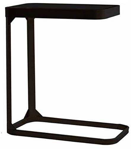 H-CAR Sofa Table,End Side Tables, C-shaped Wrought Iron Living Room Coffee Table, Simple Glass Couch Corner Table, Bedside Office Reading Table, 50 * 30 * 55 cm Coffee Table,Snack Table (Color : B)